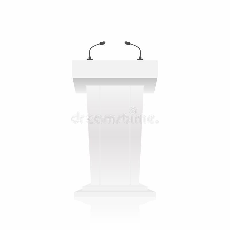 Podium, Tribüne, Standpodium mit Mikrophonen Hintere Ansicht von der Publikumsseite lizenzfreie abbildung