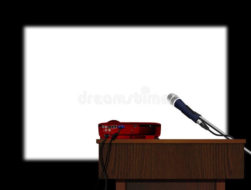Podium und Mikrofon mit Projektor lizenzfreie abbildung