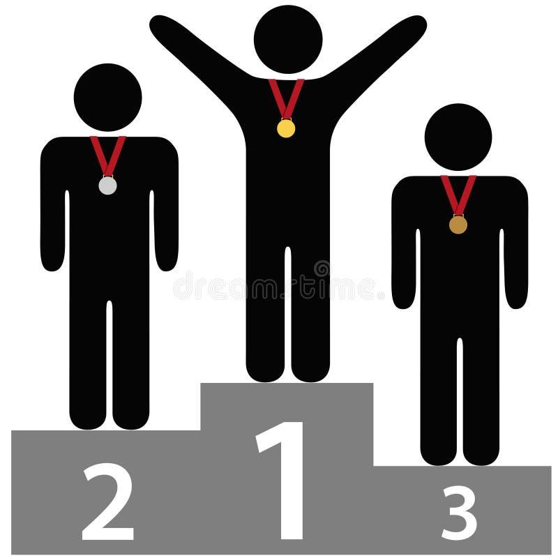 Podium van de de plaatstoekenning van winnaars eerst het tweede derde vector illustratie
