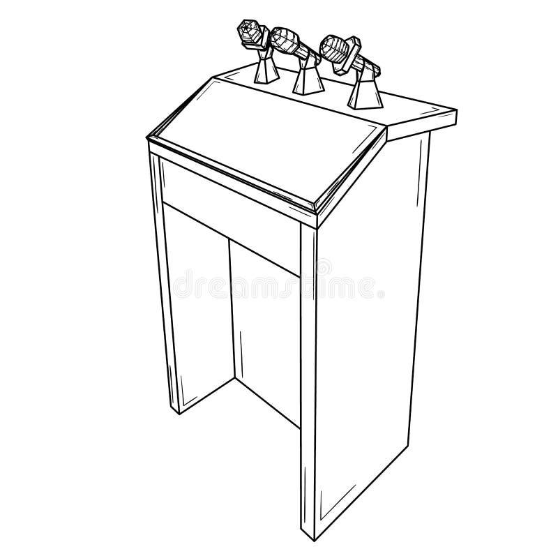 Podium voor politieke toespraak met microfoons vector illustratie