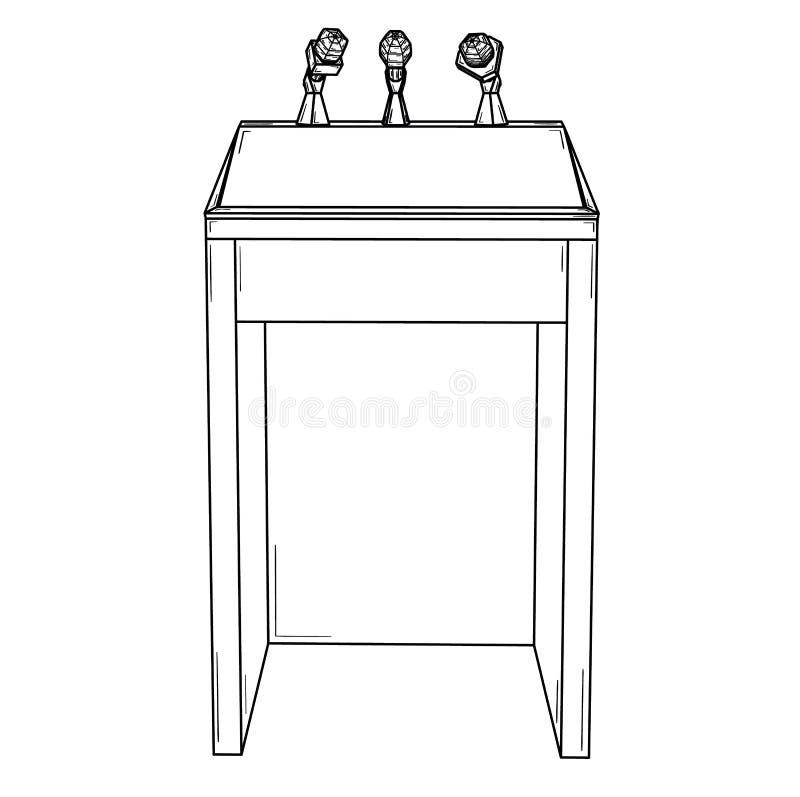 Podium voor politieke toespraak met microfoons royalty-vrije illustratie