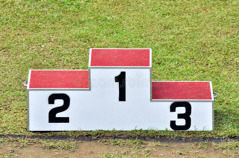 Podium waiting for the winner stock photography