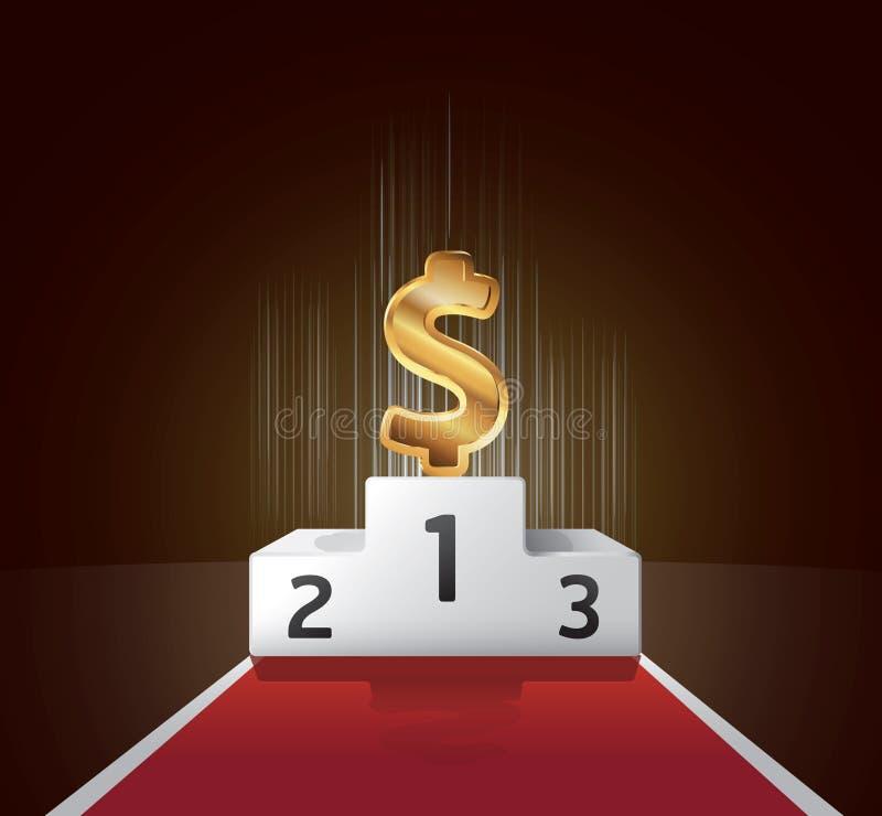 Podium złocisty dolarowy pojęcie ilustracja wektor