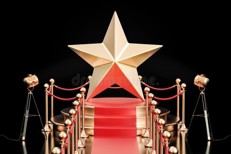 Podium z złotą gwiazdą, 3D rendering royalty ilustracja