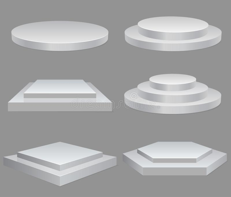 Product presentation podium, white stage, Empty white pedestal, blank template mockup. vector stock illustration