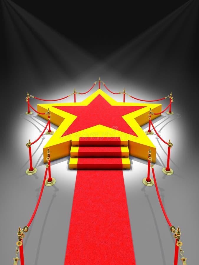 Podiumstjärna i strålkastare royaltyfri illustrationer