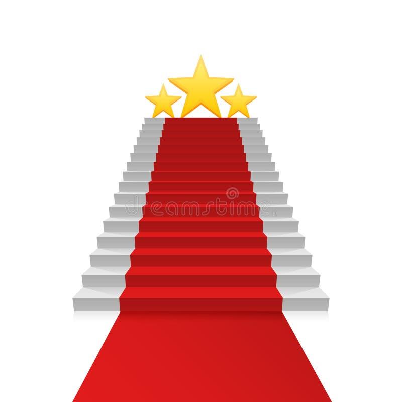 Podiumstjärna med röd matta vektor illustrationer