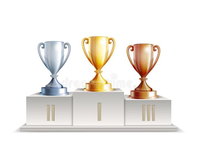 Podiumwinnaars met trofeekoppen vector illustratie
