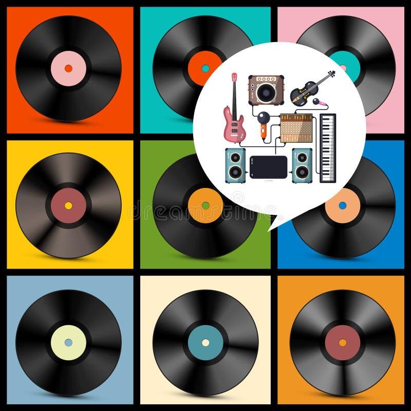 podkład muzyczny retro Winylowi rejestry, instrumenty ilustracja wektor
