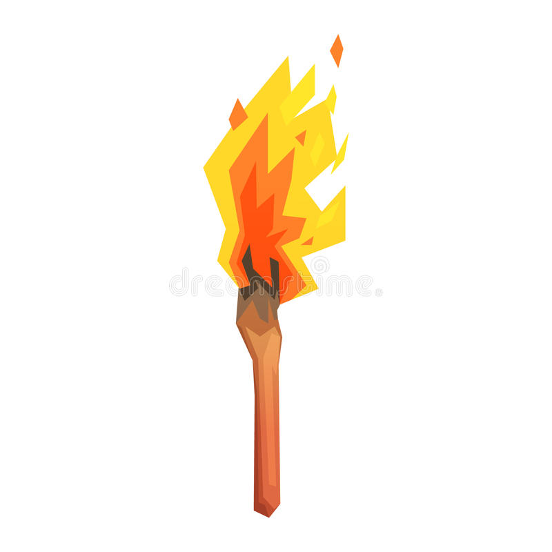 Podkłada ogień, era kamienia łupanego symbol, kolorowa wektorowa ilustracja ilustracji