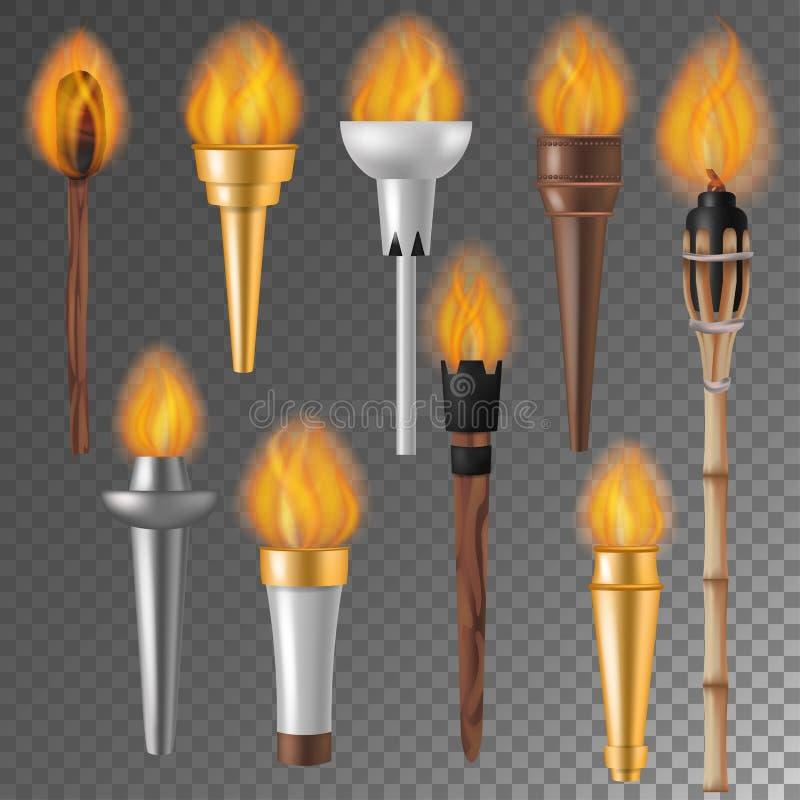 Podkłada ogień płomienia wektorowego płomiennego torchlight lub oświetleniowego flambeau symbol osiągnięcie podkłada ogień z palą ilustracja wektor