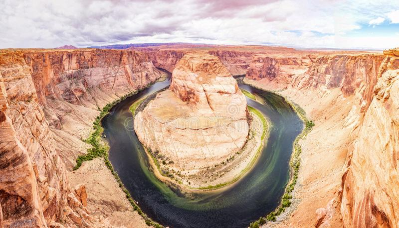 Podkowa chył, Kolorado Rzeczny meander, Arizona Stany Zjednoczone obraz stock