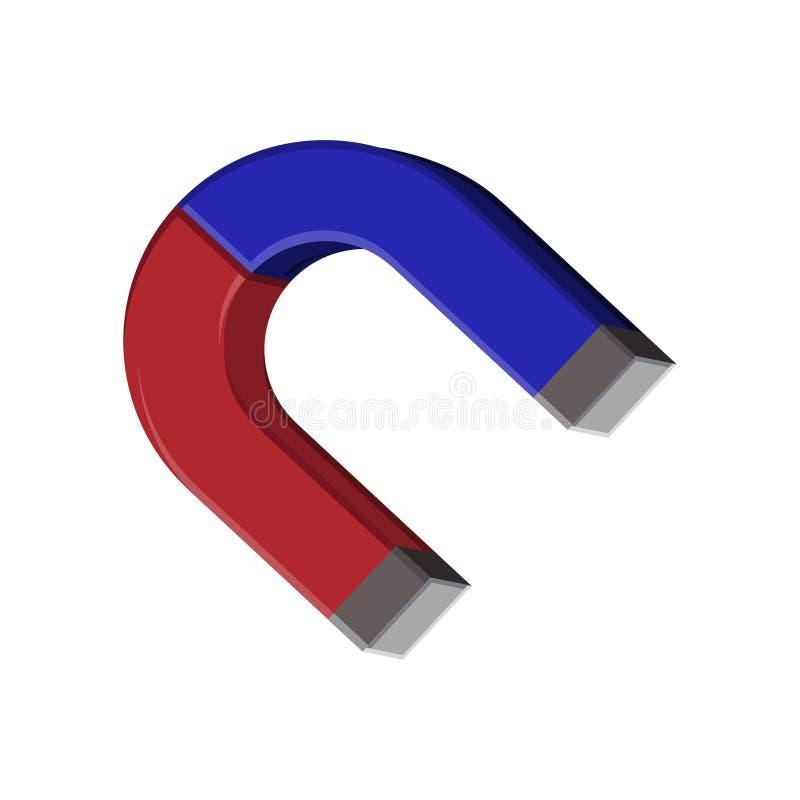 Podkowa kształta magnesu ikona odizolowywająca na białym tle Fizyka, magnetyzmu symbol żartuje naukę ilustracji