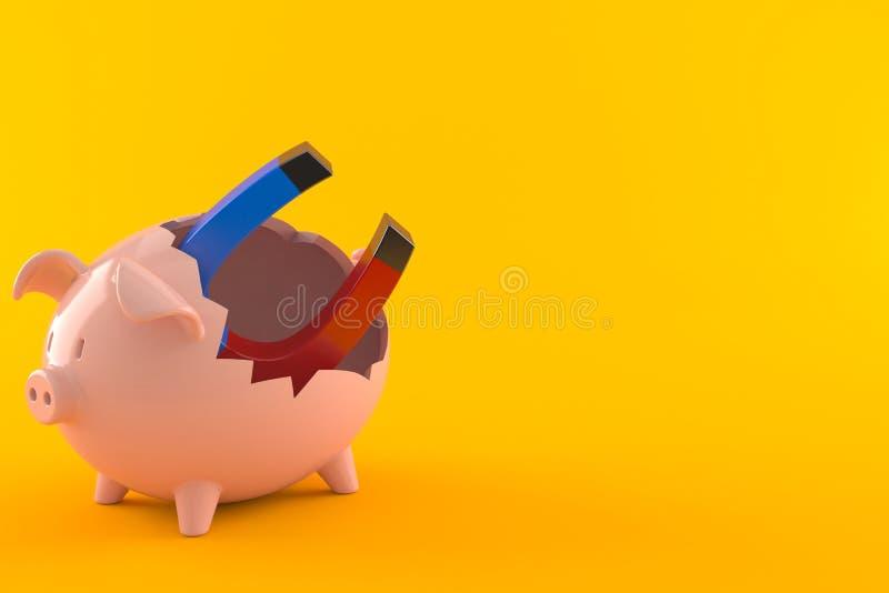 Podkowa magnes wśrodku łamanego prosiątko banka royalty ilustracja