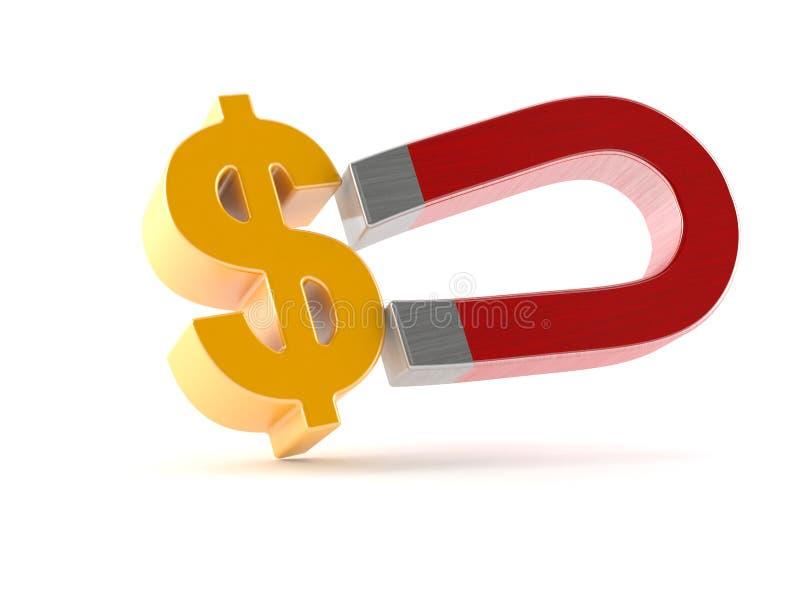 Podkowa magnes z dolarowym waluta symbolem ilustracji