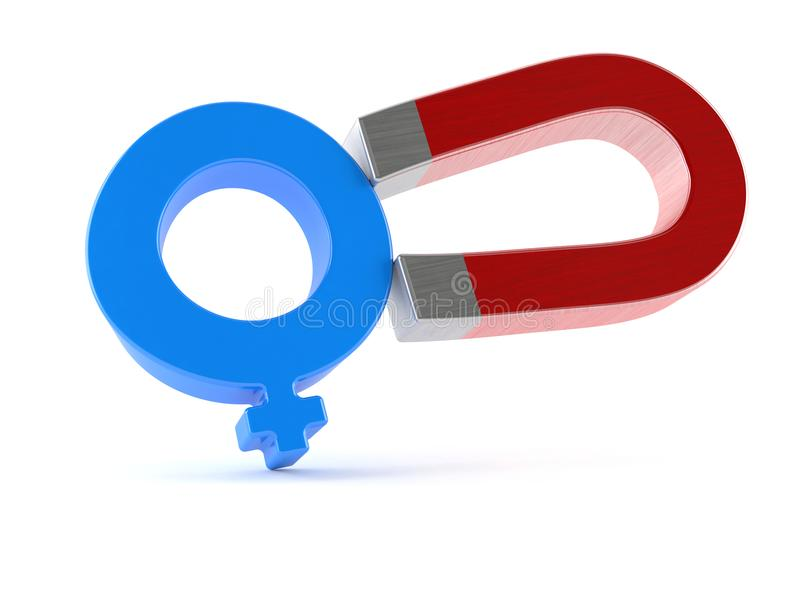 Podkowa magnes z męskim rodzaju symbolem ilustracji