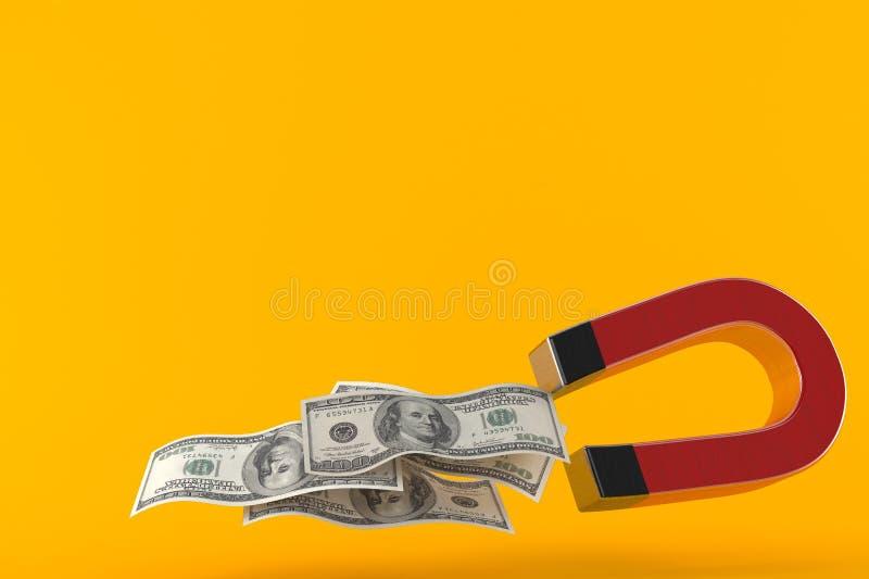 Podkowa magnes z pieniądze ilustracja wektor