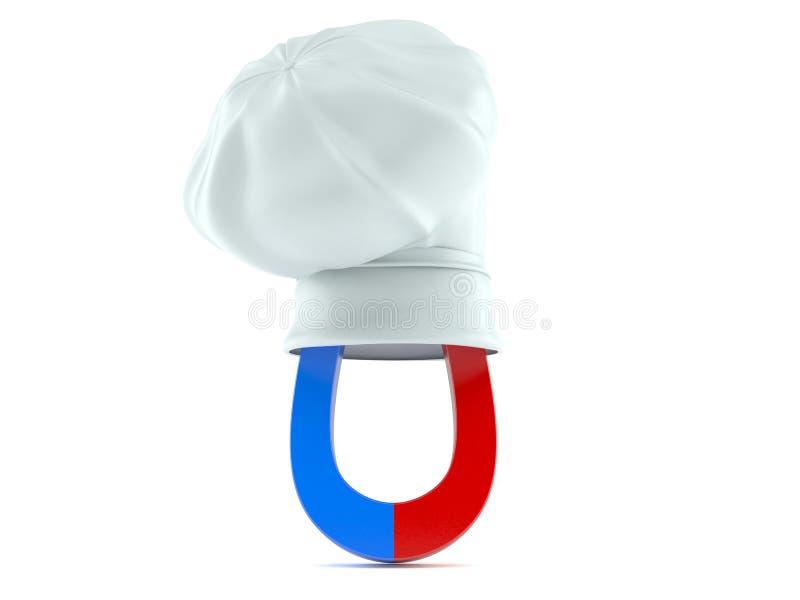 Podkowa magnes z szefa kuchni ` s kapeluszem ilustracja wektor