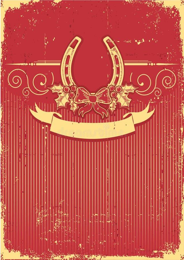 Podkowa na rocznik czerwieni bożych narodzeniach   royalty ilustracja