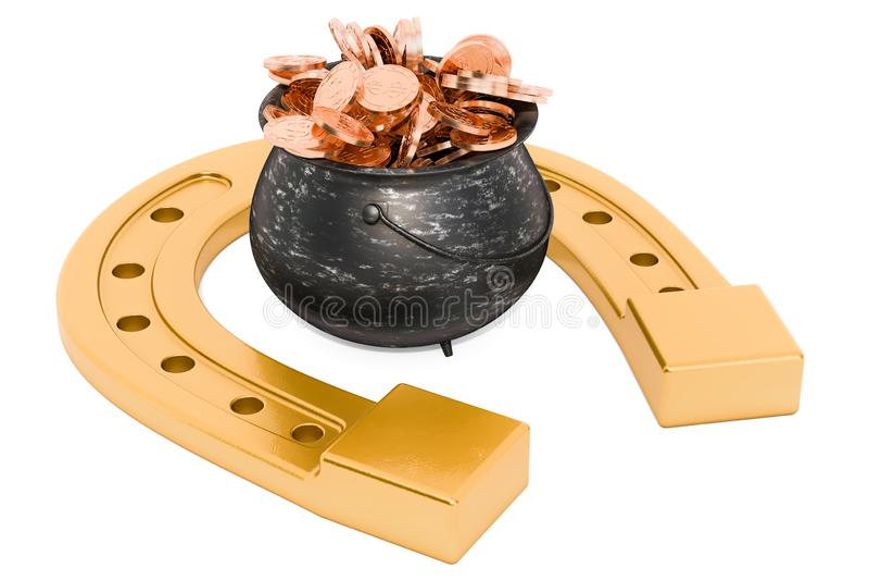 Podkowa z garnkiem pełno złote monety, 3D rendering royalty ilustracja