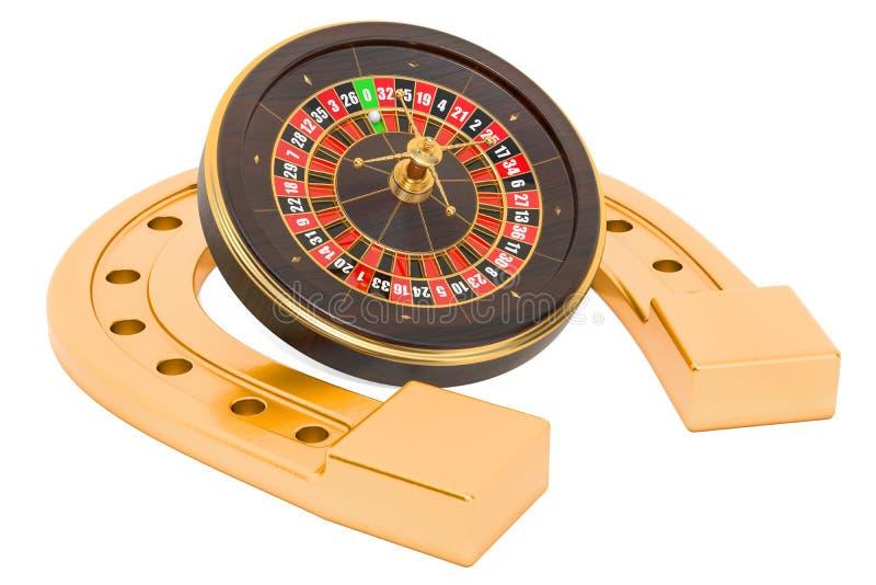 Podkowa z kasynową ruletą Szczęścia pojęcie, 3D rendering ilustracja wektor