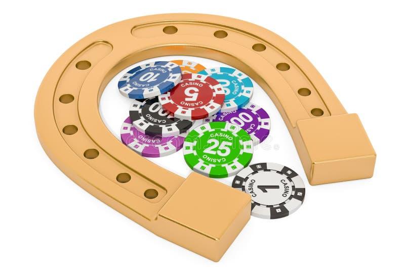 Podkowa z kasynowymi żetonami Szczęścia pojęcie, 3D rendering ilustracji
