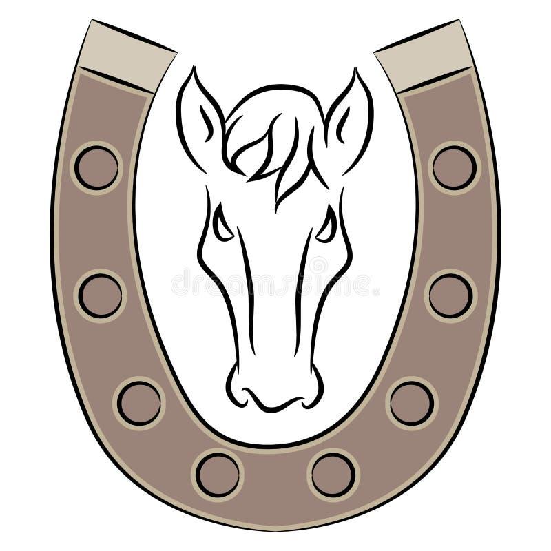 Podkowa z Końską ikoną royalty ilustracja
