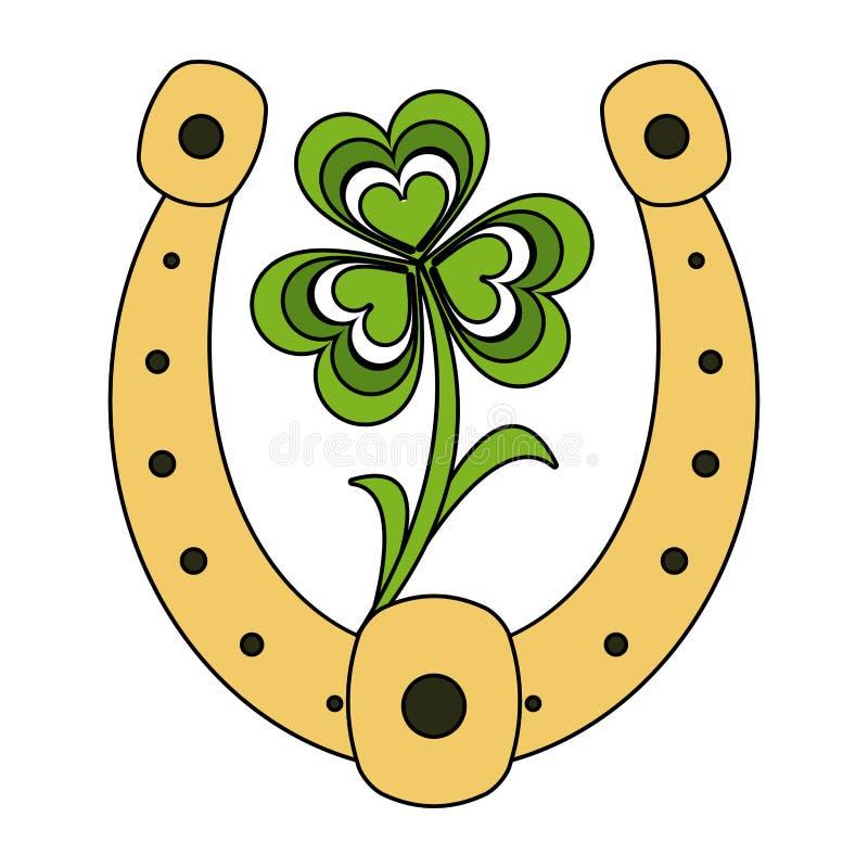 Podkowa z shamrock liściem royalty ilustracja