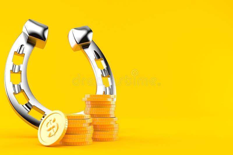 Podkowa z stertą monety ilustracja wektor