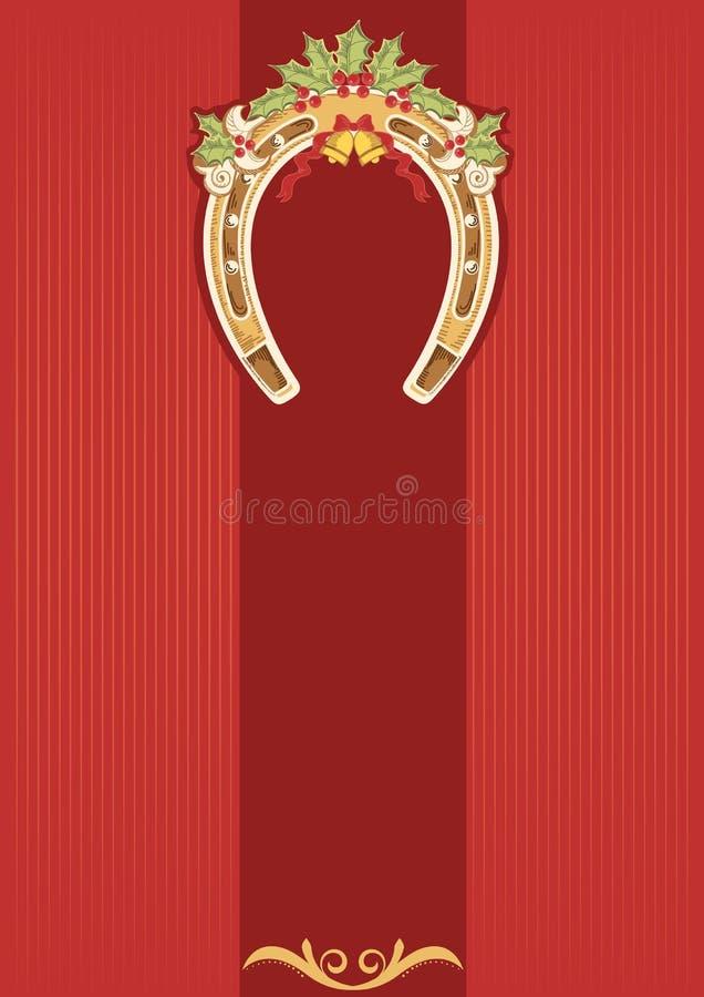 Podkowa z uświęconą jagodą na czerwonym tle. royalty ilustracja