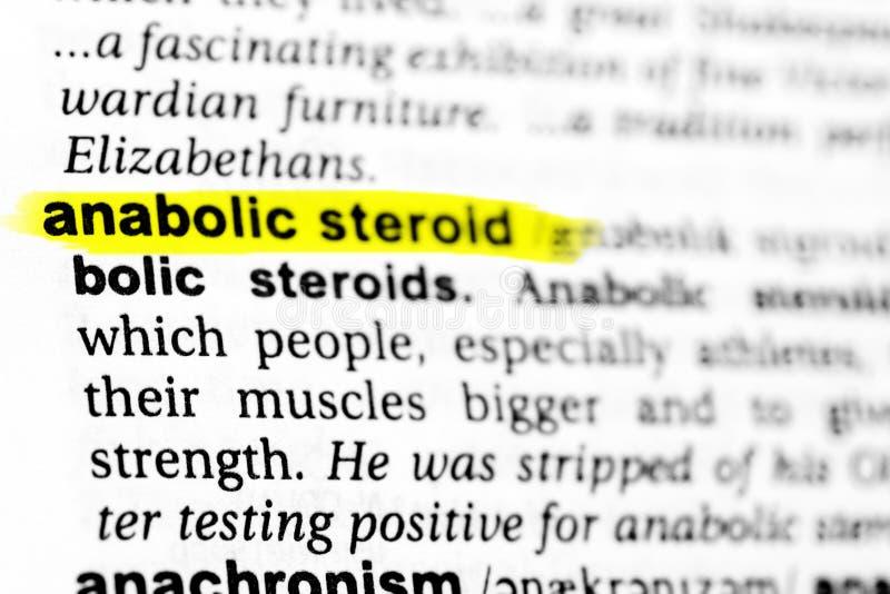 Podkreślać angielszczyzny formułują ` anabolic sterydu ` i swój definicję w słowniku zdjęcia stock