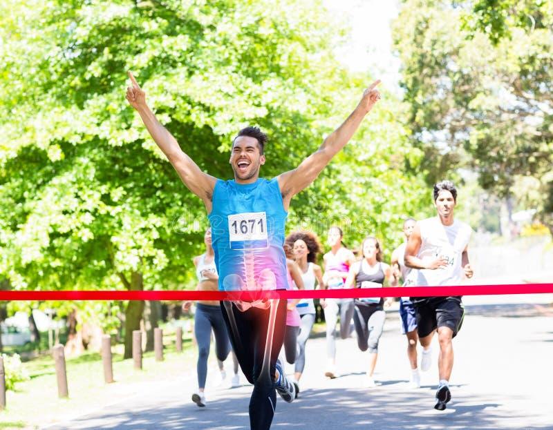 Podkreślać kości biegowy zwycięzca fotografia royalty free