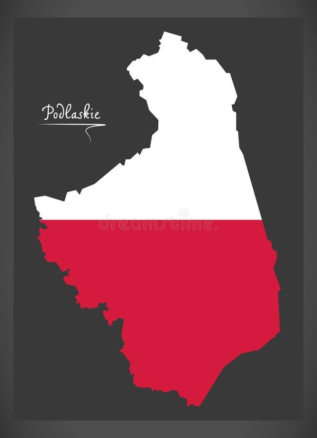 Podlaskie map of Poland with Polish national flag illustration. Podlaskie map of Poland with Polish national flag stock illustration