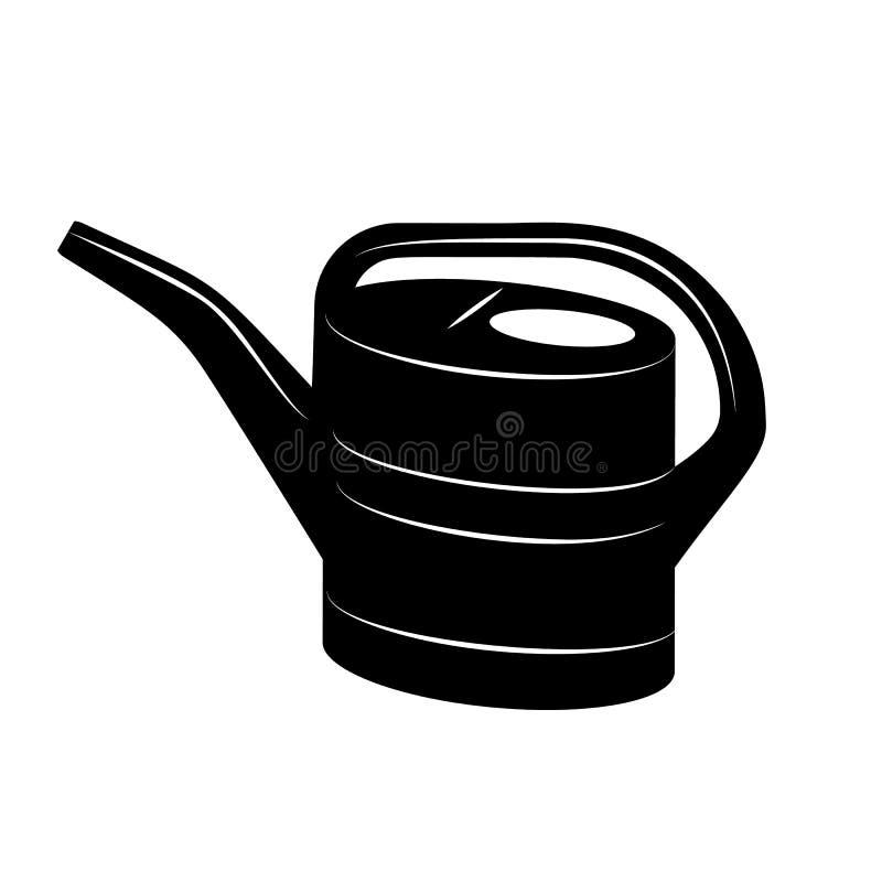 Podlewanie puszka w prostym stylu Wektorowa ilustracja w czerni royalty ilustracja