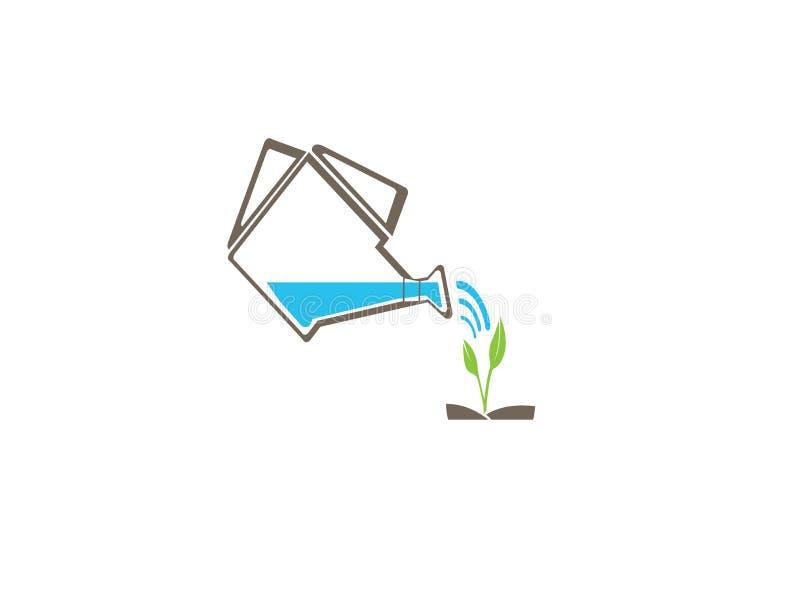 Podlewanie puszka z wod kropel ikoną i rośliny dla logo projekta royalty ilustracja