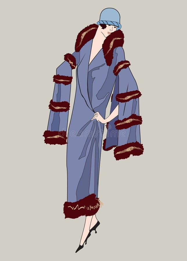 Podlotek dziewczyny (20s styl): Mody retro przyjęcie royalty ilustracja