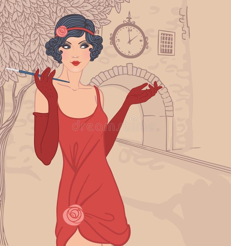 Podlotek dziewczyny ustawiać: rocznik kobiety in1920s styl ilustracji
