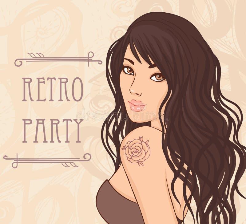 Podlotka retro brunetki dziewczyna ilustracja wektor
