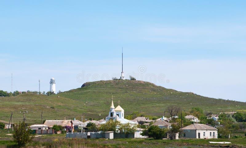Podmayachny wioska przy przylądkiem Fonar, Kerch, Crimea obrazy stock