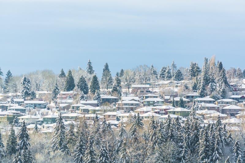 Podmiejscy mieszkaniowi domy w śniegu na zima dniu zdjęcia royalty free