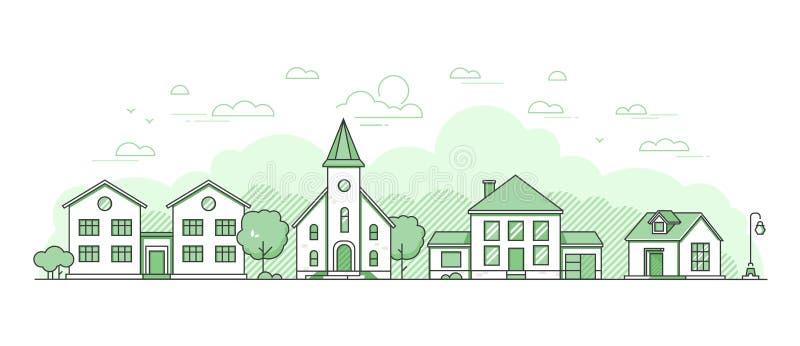 Podmiejski krajobraz - nowożytna cienka kreskowa projekta stylu wektoru ilustracja ilustracja wektor