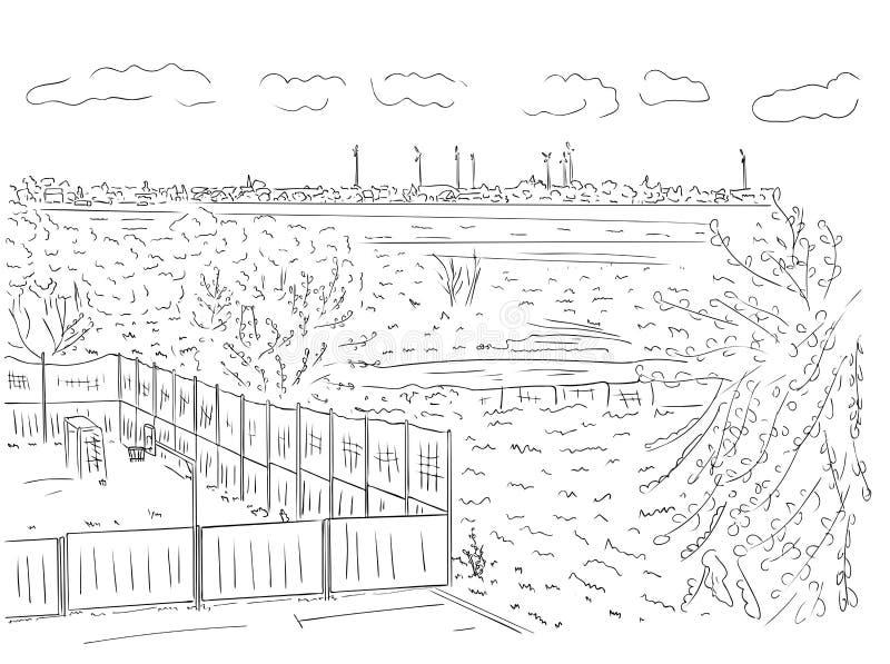 Podmiejski krajobraz z drzewami, domami i boiskiem w czarny i biały kolorach, kontur ręka malował rysunek royalty ilustracja