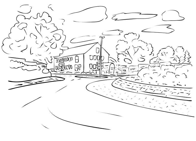 Podmiejski krajobraz z drzewami, domem i drogą w czarny i biały kolorach, ilustracji