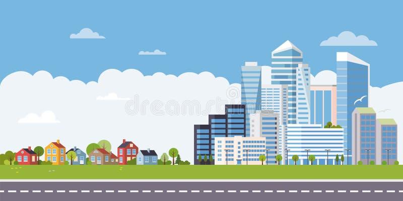 Podmiejski miastowy płaski projekta krajobrazu sztandar ilustracja wektor