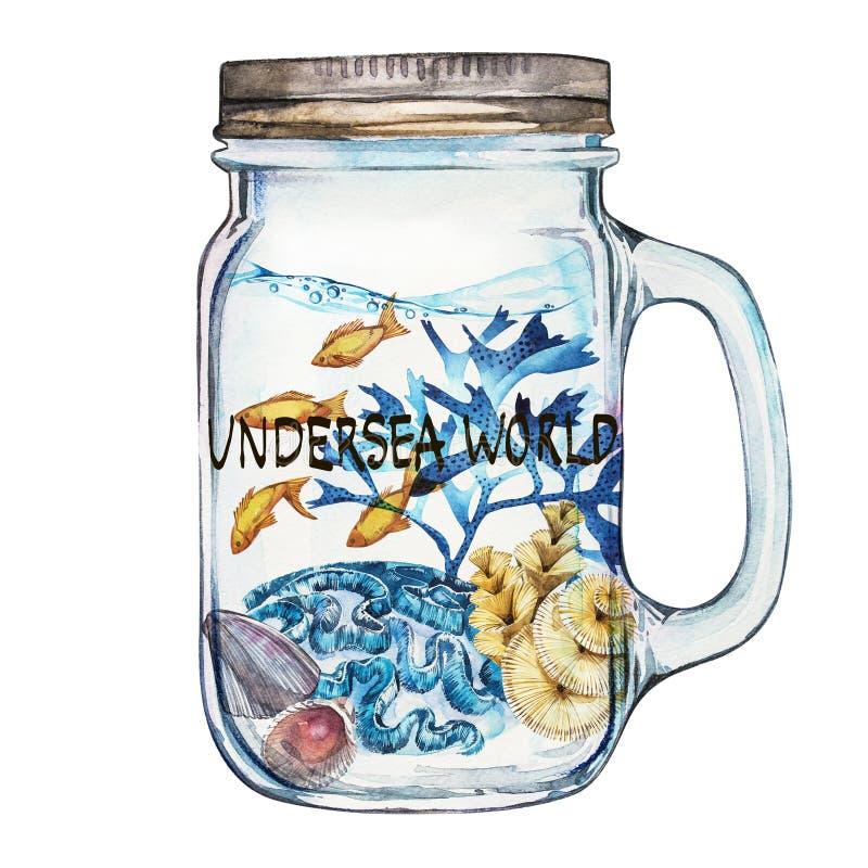 podmorski świat Isoleted Tumbler z Morskiego życia krajobrazem ocean i podwodny świat z różnym - royalty ilustracja