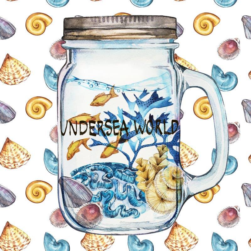 podmorski świat Isoleted Tumbler z Morskiego życia krajobrazem ocean i podwodny świat z różnym - ilustracja wektor