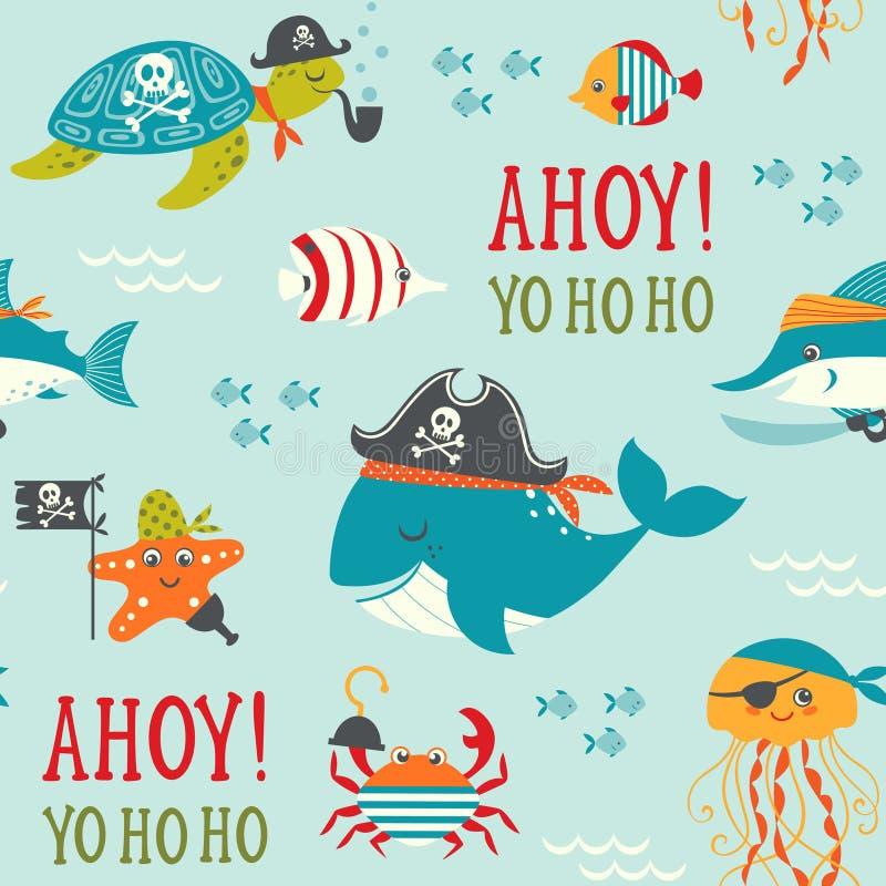 Podmorski pirata wzór ilustracji