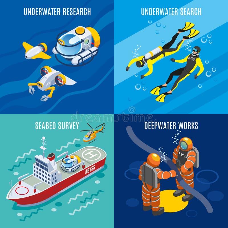 Podmorskie głębie Badają Isometric pojęcie ilustracji