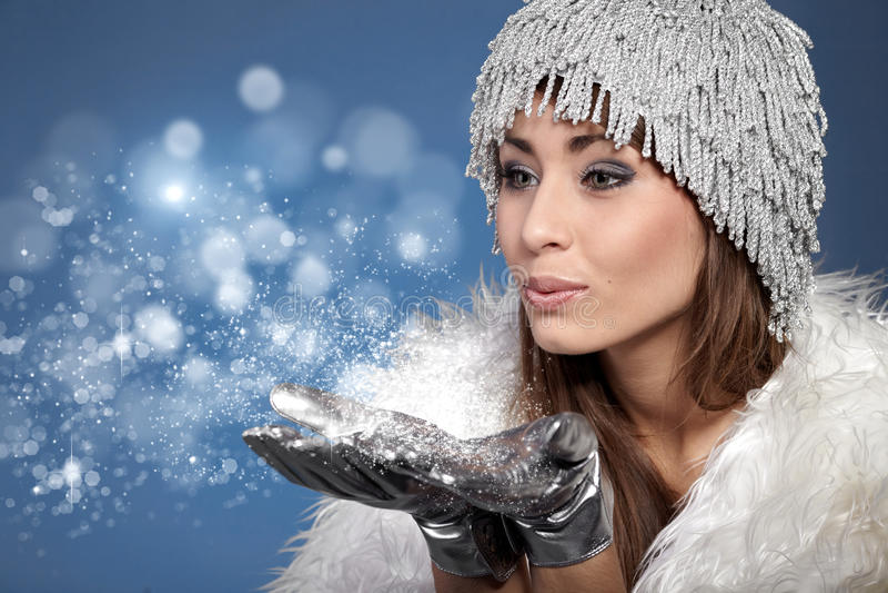 podmuchowa śnieżna kobieta fotografia royalty free