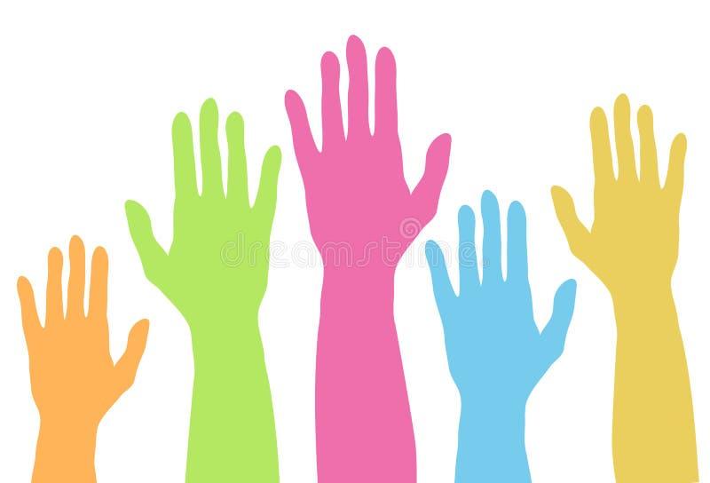 Podnosić kolorowe ręki w górę sylwetki w pastelowym kolorze, prosty vec ilustracja wektor